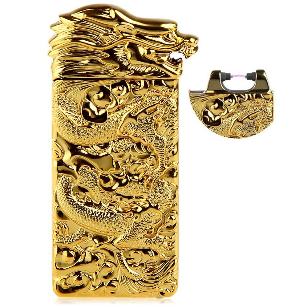 OIIKURY USB Rechargeable Windproof Electric Plasma Arc Cigarette Lighter Engraved Lighters Chinese Dragon(Gold)