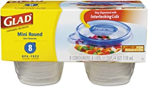 Glad Food Storage Containers - Mini Round Containers - 4 Ounce - 8 Count (Pack of 12)
