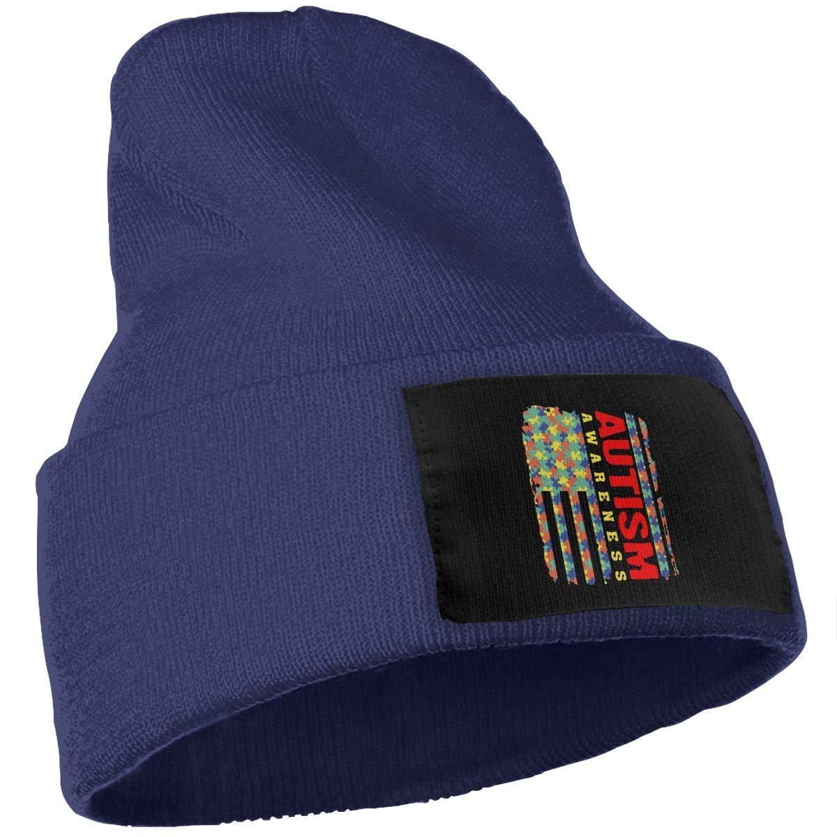 COLLJL-8 Unisex Autism Awareness Ribbon Outdoor Warm Knit Beanies Hat Soft Winter Skull Caps