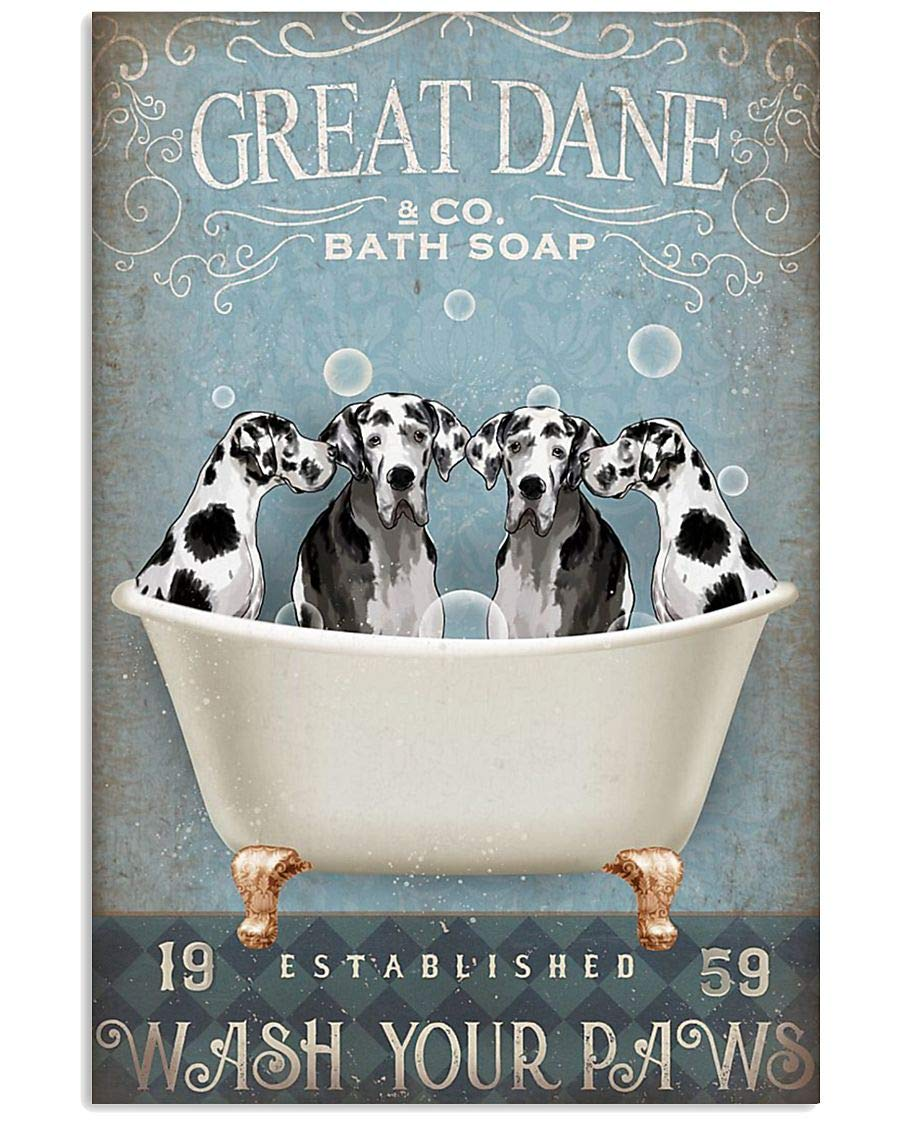 Funny Great Dane Relax On Bath Soap Poster Wall Decor Bathroom Bedroom Decor Prints Canvas Wall Art Small Framed Artwork for Walls Vintage Paintings