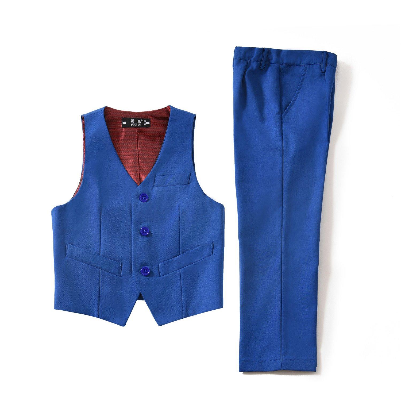 Yuanlu 2 Piece Toddlers Kids Boys Formal Vest and Pants Set Dress Wear Royal Blue Size 8