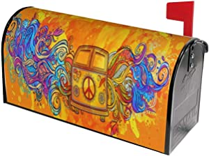 Hippie Vintage Car A Mini Van Mailbox Covers Standard Size Peace Sign Magnetic Mail Cover Letter Post Box 21