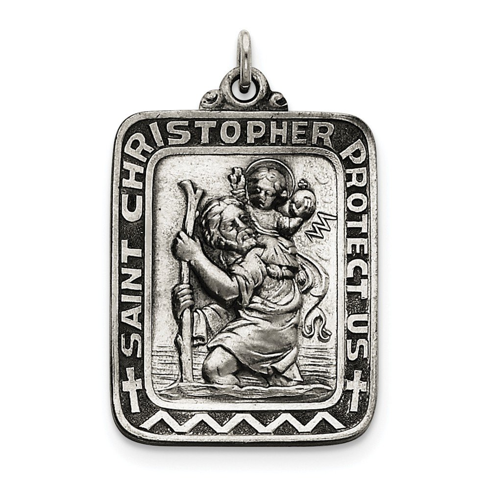Sterling Silver Antiqued Saint Christopher Medal on a Sterling Silver Cable Snake or Ball Chain Necklace
