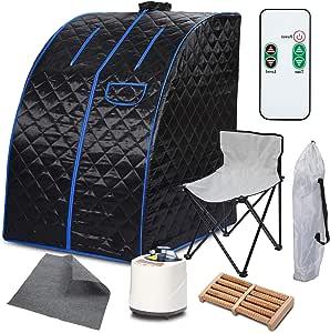 Paddie Portable Steam Sauna, Personal Sauna Tent 9 Adjustable Temperature 2L Folding W/Chair Foot Massage Roller Absorbent Pad for Spa Home Stress Fatigue Detox (Black)
