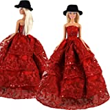 Barwa Princess Evening Party Clothes Wears Dress Outfit Set Red Gown Dress with Black Hat for Barbie Doll