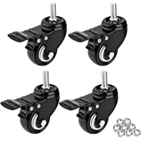 1.5″ Threaded Stem Casters with Brake, Heavy Duty Swivel Caster Wheels with M8x25 Threaded Stem and Nuts for Shopping Carts, Trolley, Workbench, Furniture (Pack of 4) (Black) (1.5 inch)