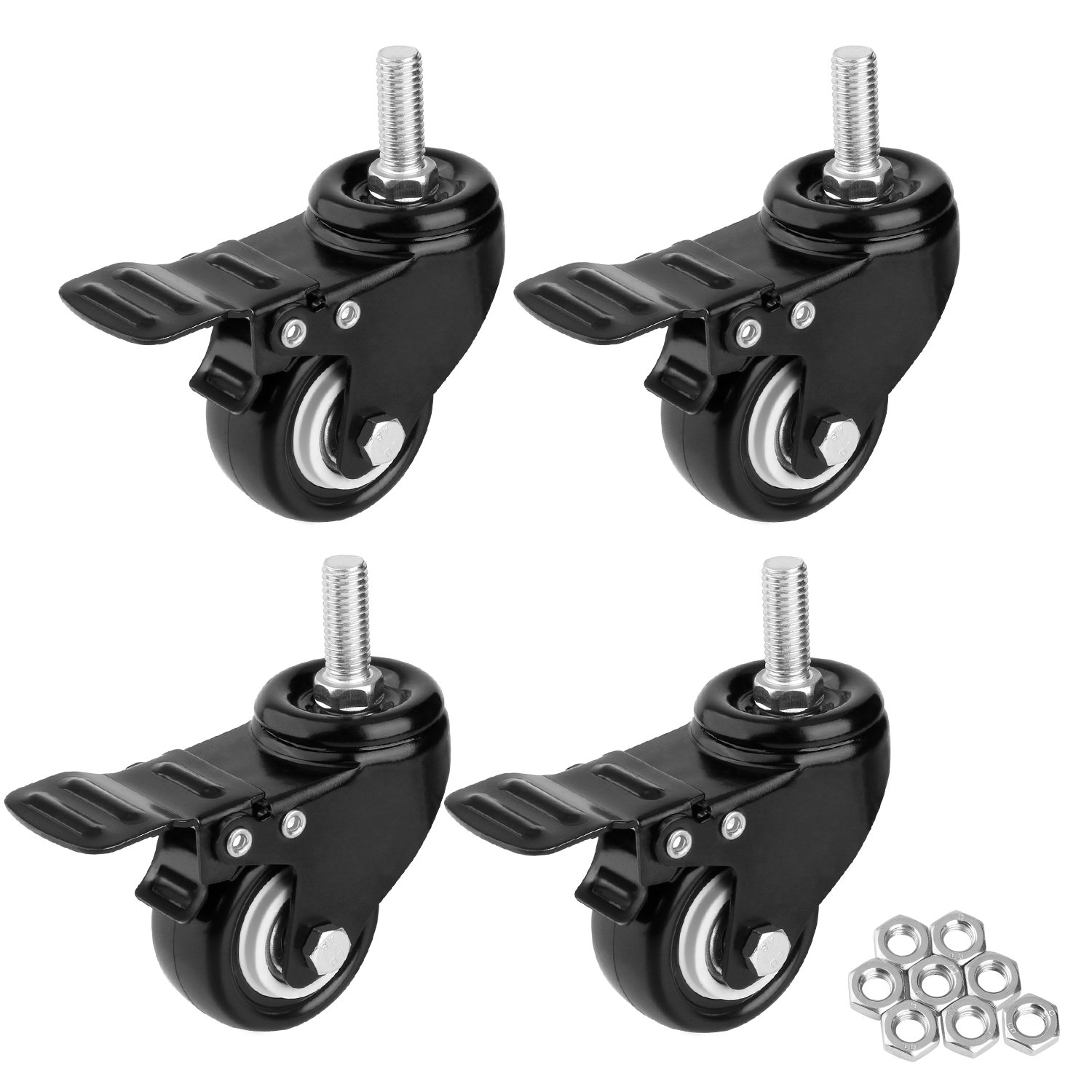 "1.5"" Threaded Stem Casters with Brake, Heavy Duty Swivel Caster Wheels with M8x25 Threaded Stem and Nuts for Shopping Carts, Trolley, Workbench, Furniture (Pack of 4) (M8x25)"