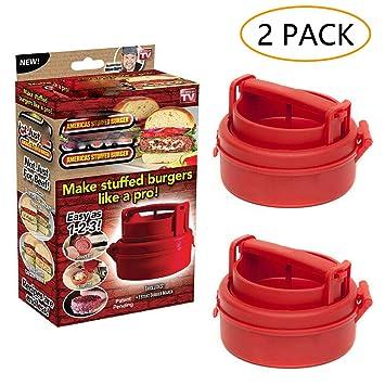 Stufz - Juego de 2 herramientas de cocina con diseño de hamburguesa para hacer patatas de