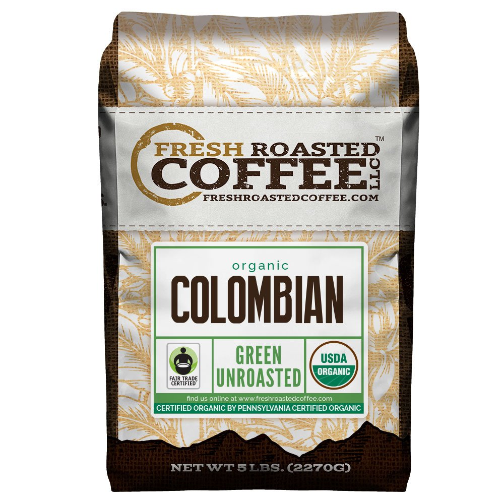 Fresh Roasted Coffee LLC, Green Unroasted Colombian Sierra Nevada Coffee Beans, Fair Trade, USDA Organic, 5 Pound Bag by FRESH ROASTED COFFEE LLC FRESHROASTEDCOFFEE.COM