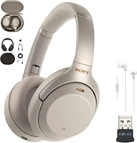 Sony WH-1000XM3 Wireless Noise-Canceling Over-Ear Headphones Silver, USA Warranty , in-Ear Headphones White and USB Bluetooth Adapter Bundle