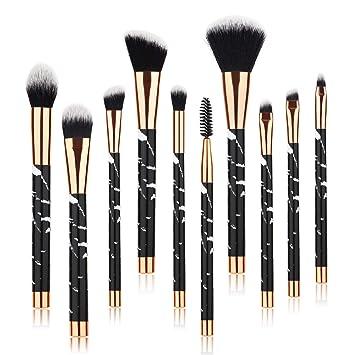 7b8946908bb Amazon.com: Beauty Kate Marble Makeup Brushes (Black), 10 PCS Makeup Brush  Set Premium Face Eyeshadow Eyebrow Blush Contour Foundation Fluffy Crease  ...