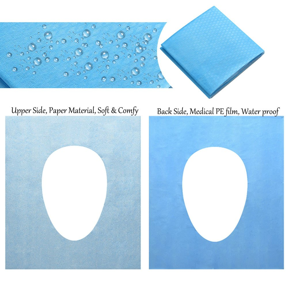 40PCS Water Proof Anti-bacterial Disposable Paper Toilet Seat Covers Pocket Size Portable Travel Washroom Seat Cover Single Packed Public Restrooms Protectors,18.1x15.8 inch by Starly (Image #3)