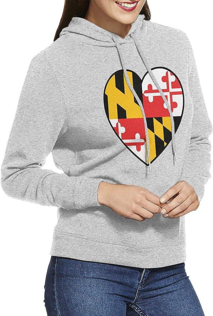 NVWEIYIJW Maryland Flag Heart Pullover Hoodie Ladies Long Sleeve Tops Hooded Sweatshirts