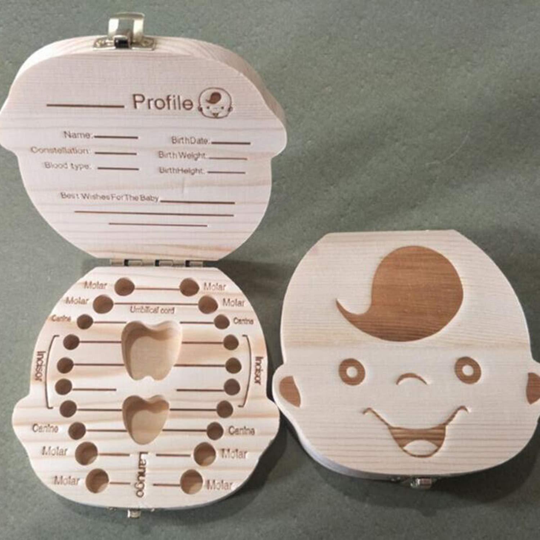 Caja de almacenamiento de ahorro de caja de dientes de beb/é creativo Caja de almacenamiento de dientes de ni/ños de madera Caja de dientes de leche Recuerdo para ni/ñas Ni/ños de madera