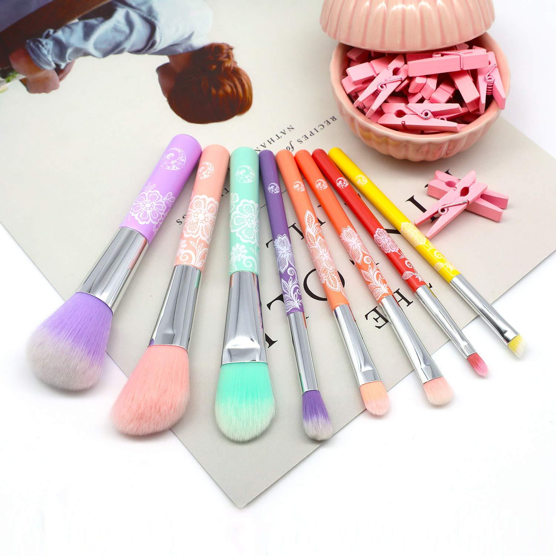 Amazon.com: ENERGY Juego de brochas de maquillaje coloridas ...