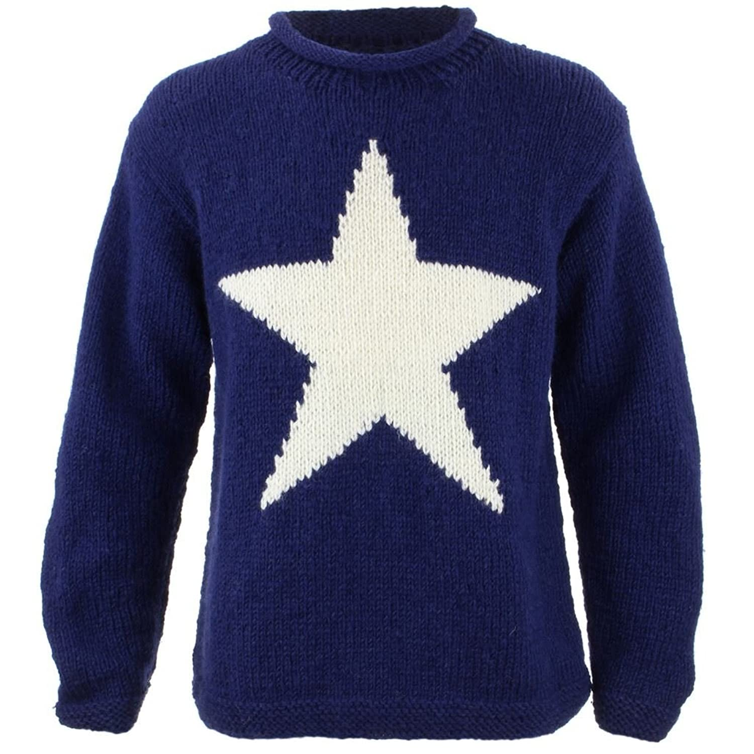 LoudElephant Chunky Wool Knit Star Jumper - Navy with Cream Star