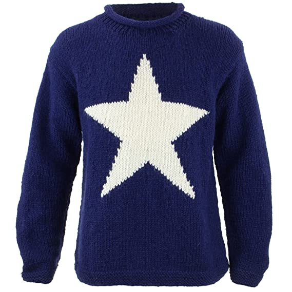 b8e551d1e LOUDelephant Chunky Wool Knit Star Jumper - Navy   Cream (XX-Large ...