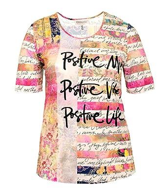 245ad68c9ae783 Chalou   kurzarm T-Shirt Damen Pastelltöne mit Postitive Aufdruck Schrift große  Größen  Amazon.de  Bekleidung