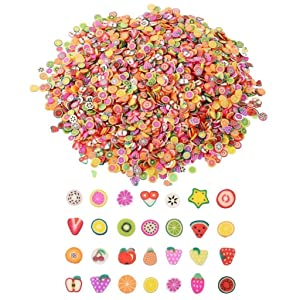AOMI 20000 Pcs Nail Art Fimo, 3D Fruit Nail Polymer Charms Slime Slices, Mini Cute Colorful DIY Strawberries Apple Banana Watermelon and More for Girls Women Kids Craft