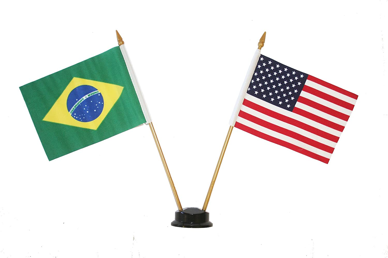 """BRASIL COUNTRY 4/"""" X  6/""""  inch stick flag with GOLD STAND on 10/"""" plastic pole"""