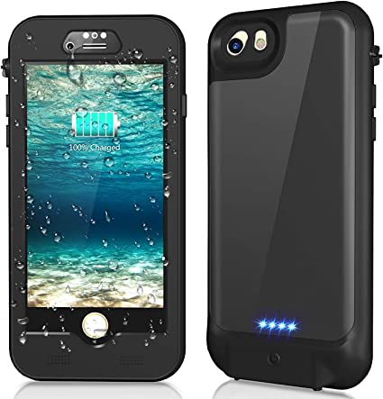 cjc IP68 Waterproof Battery Case for iPhone Qi Wireless Charging Compatible Extended Protective Portable Charger Case for Apple iPhone Built-in Screen Protector Black