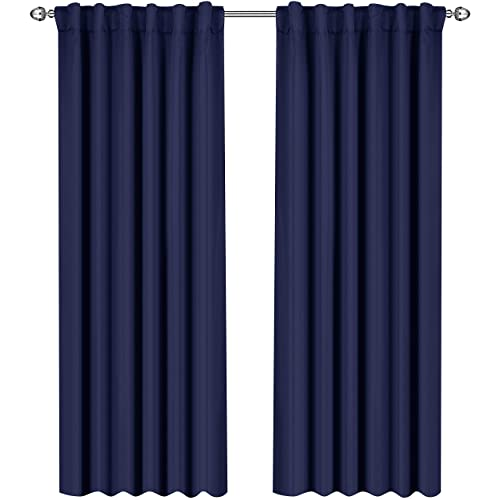 navy and white drapes navy blue green utopia bedding blackout room darkening and thermal insulating window curtainspanelsdrapes navy blue drapes amazoncom