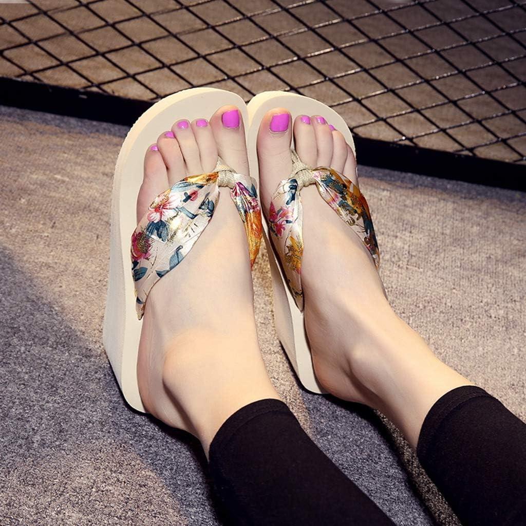 MIOKE Womens Boho Wedge Flip Flops Sandals High Heel Platform Florals Comfy Anti-Slip Summer Beach Thong