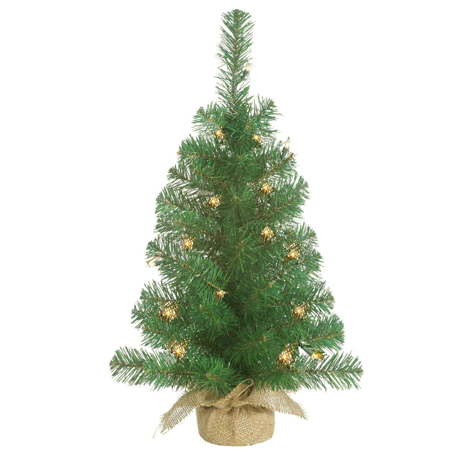 Lighted Christmas Pine Tree 24 Inches High with Battery Operated Timer and Warm White LED Lights - Burlap Wrapped Base- Artificial Pre-Lit Christmas Pine Tree - Indoor / Outdoor - Steady and Flashing by GER