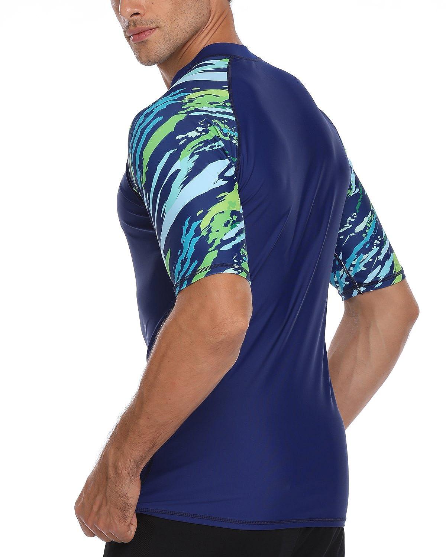 AXESEA Mens Short Sleeve Solid Swimsuit Sun Protection Rashguard Swim Shirt UPF 50+