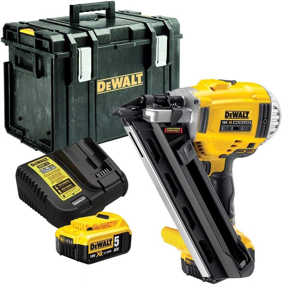 Dewalt DCN692N 18V XR Brushless 90mm First Fix Nailer with 2 x 5Ah Batteries, Charger & DS400 Case