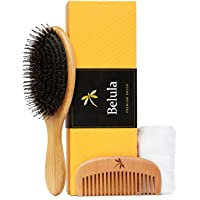 Detangling Boar Bristle Hairbrush Set. Hairbrush for Thick, Long and Curly Hair. Restores Shine and Texture to Your Hair…