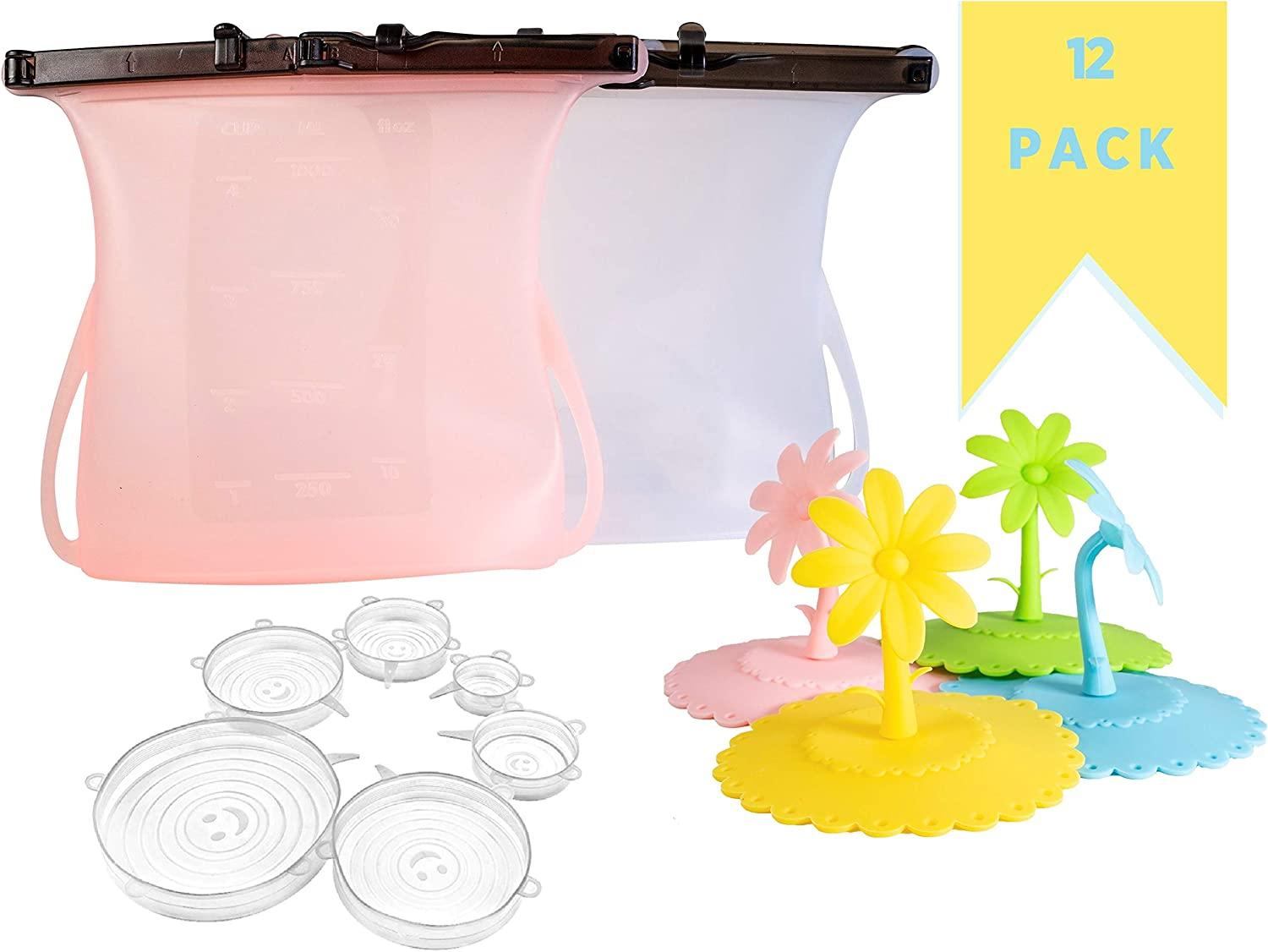 12 Piece Set Eco Friendly KitchenItems. (2) Reusable Silicone Food Storage Bags, Leak-Proof, Stand-Up, Airtight, Microwave to Freezer Plus (6) Silicone Stretch Lids Plus (4) Cup Covers.