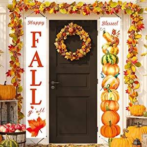 Silintion 2020 Newest 2 Pieces Happy Fall Harvest Banner Autumn Fall Banner Pumpkin Porch Sign Thanksgiving Hanging Banner Flag for Home Farmhouse Classroom Garden Wall Yard Party (Pumpkin Leaves)