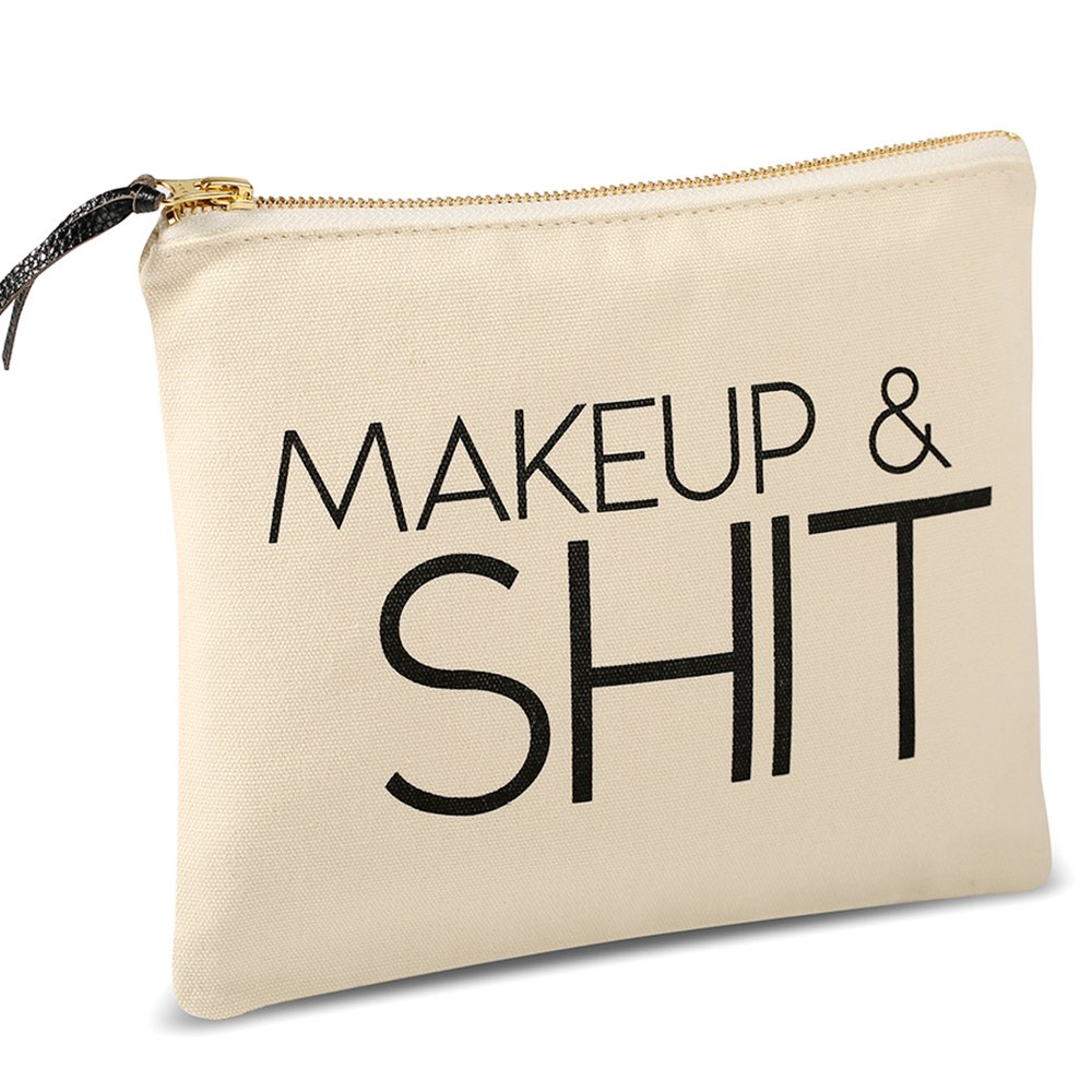 Funny Canvas Makeup Bag, Large Canvas Cosmetic Bag (9.5 x 8 inch, Beige), Makeup Zipper Pouch Toiletry Travel Bag, Premium Cotton Makeup Bag for Birthday Gift Wedding Party Gift