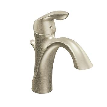 Amazon.com: Moen Eva One-Handle High Arc Bathroom Faucet, Brushed ...