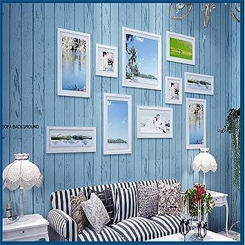 Mediterraner Gestreift 3D Wallpaper, Nostalgisches Holz Schlafzimmer  Wohnzimmer TV Hintergrund Wand Kinder Zimmer Buchhandlung Vliestapete