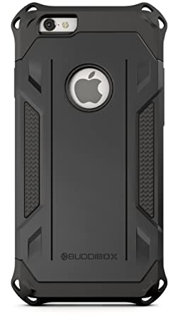 uk availability fb00f d75f1 BUDDIBOX iPhone 6s Case, [Corner Series] Slim Fit Dual Layer Soft Cushion  Drop Protection Heavy Duty Case for Apple iPhone 6 & 6s, (Black)
