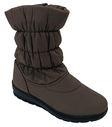 """NED-02 Women's Winter Boots Nylon Cold Weather 10"""" Fur Lined Fashion Shearling Warm Side Zipper Snow Shoes Black"""