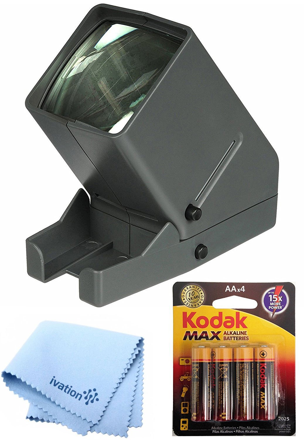 Calumet Medalight 35mm Desk Top Portable LED Negative and Slide Viewer + AA Batteries + Ivation MicroFiber Cleaning Cloth