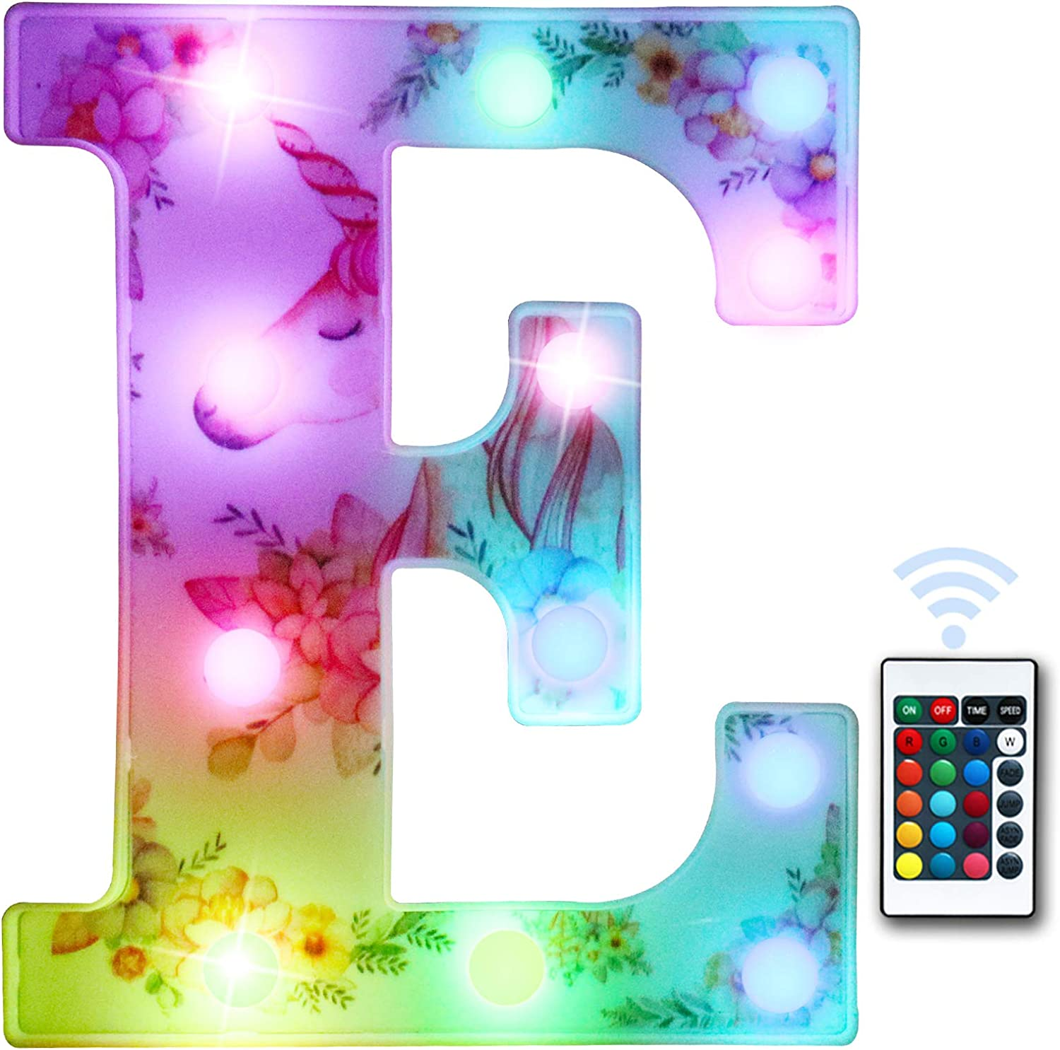 LED Marquee Letter Lights Color Changing Light up Unicorn Decorations Letter Sign with Remote, Birthday Party Home Girls Room Decor Gifts - Colorful Letter E