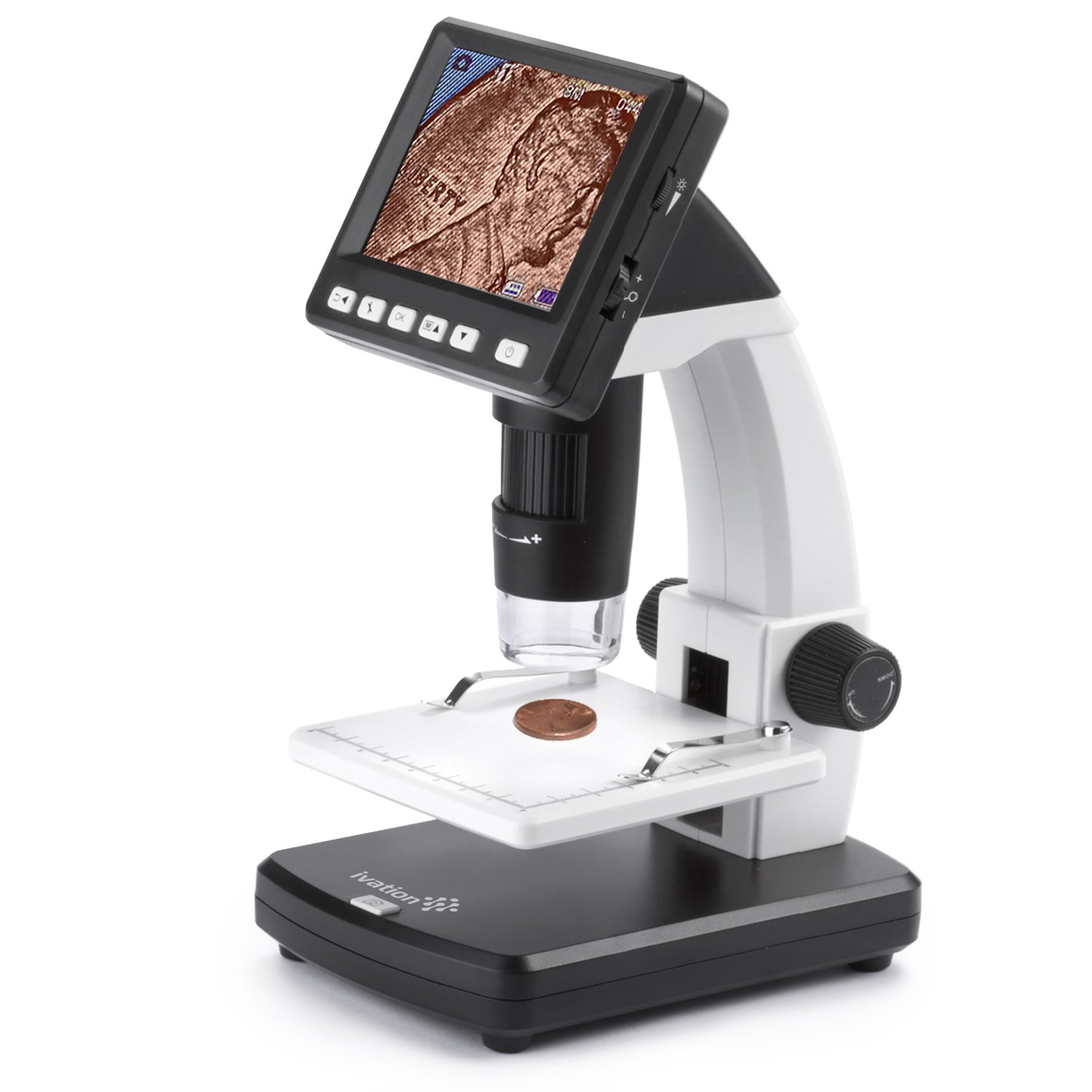 """Ivation Portable Digital HD LCD Microscope – Rechargeable 14MP Microscope w 220x Optical 500x Digital Magnification HD Sensor 3.5"""" LCD Screen Adjustable Stage Photo Video Capture HDMI More"""