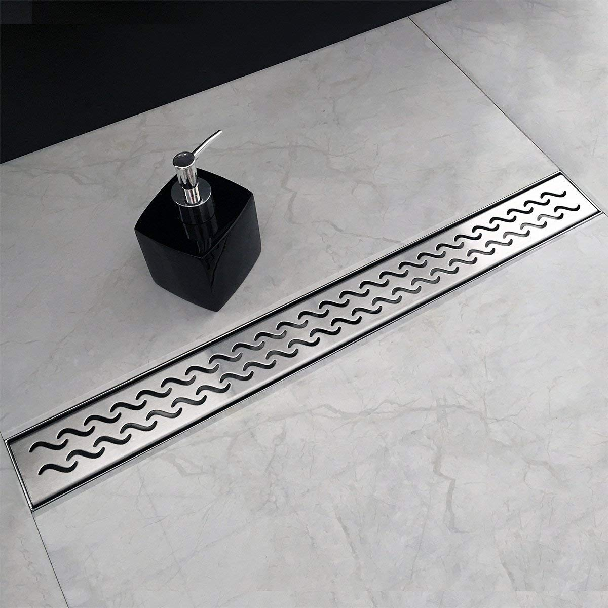 Neodrain 24 Inch Rectangular Linear Shower Drain with Slight Sea Grate, Brushed 304 Stainless Steel Bathroom Floor Drain,Shower Floor Drain Includes Adjustable Leveling Feet, Hair Strainer