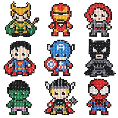 Oludkeph 5D DIY Diamond Painting Stickers Kits for Kids 9pcs Superhero Stick Paint with Diamonds by Number Kit DIY Arts Crafts Mosaic Making: Toys & Games