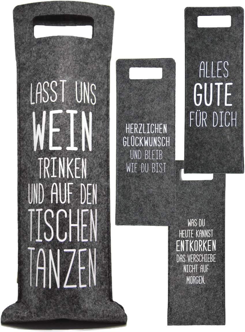 41 x 14,5 cm grau//schwarz Weintasche Aufbewahrungstasche Cepewa 4er Set Weinflaschentasche aus Filz mit Spr/üchen in 4 Designs ca