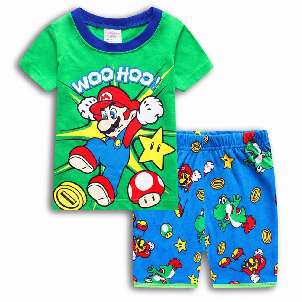 Boys Pajamas 100% Cotton Mario Short Kids Snug Fit Pjs Summer Toddler Sleepwear (Grey, 5T)