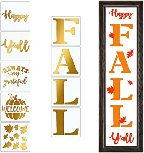 CINPIUK 9PCS Happy Fall Y'all Stencils Welcome Pumpkin Leaves Painting on Wood DIY Thanksgiving Porch Sign, 8 Inch