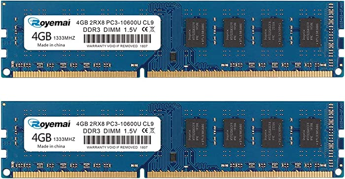 ROYEMAI 8GB Kit (2X4GB) DDR3 RAM, DDR3 1333 PC3-10600U 4GB DDR3 2Rx8 240-pin Dimm CL9 1.5V Desktop RAM Memory Module