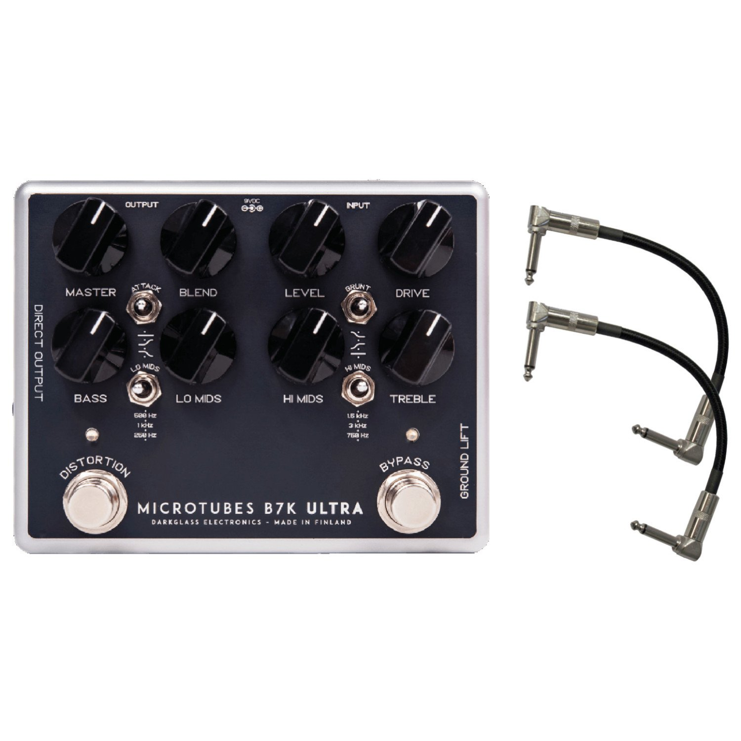 Darkglass MTB7K Microtubes B7K ULTRA Bass Overdrive Pedal w/ 2 Patch Cables by Darkglass