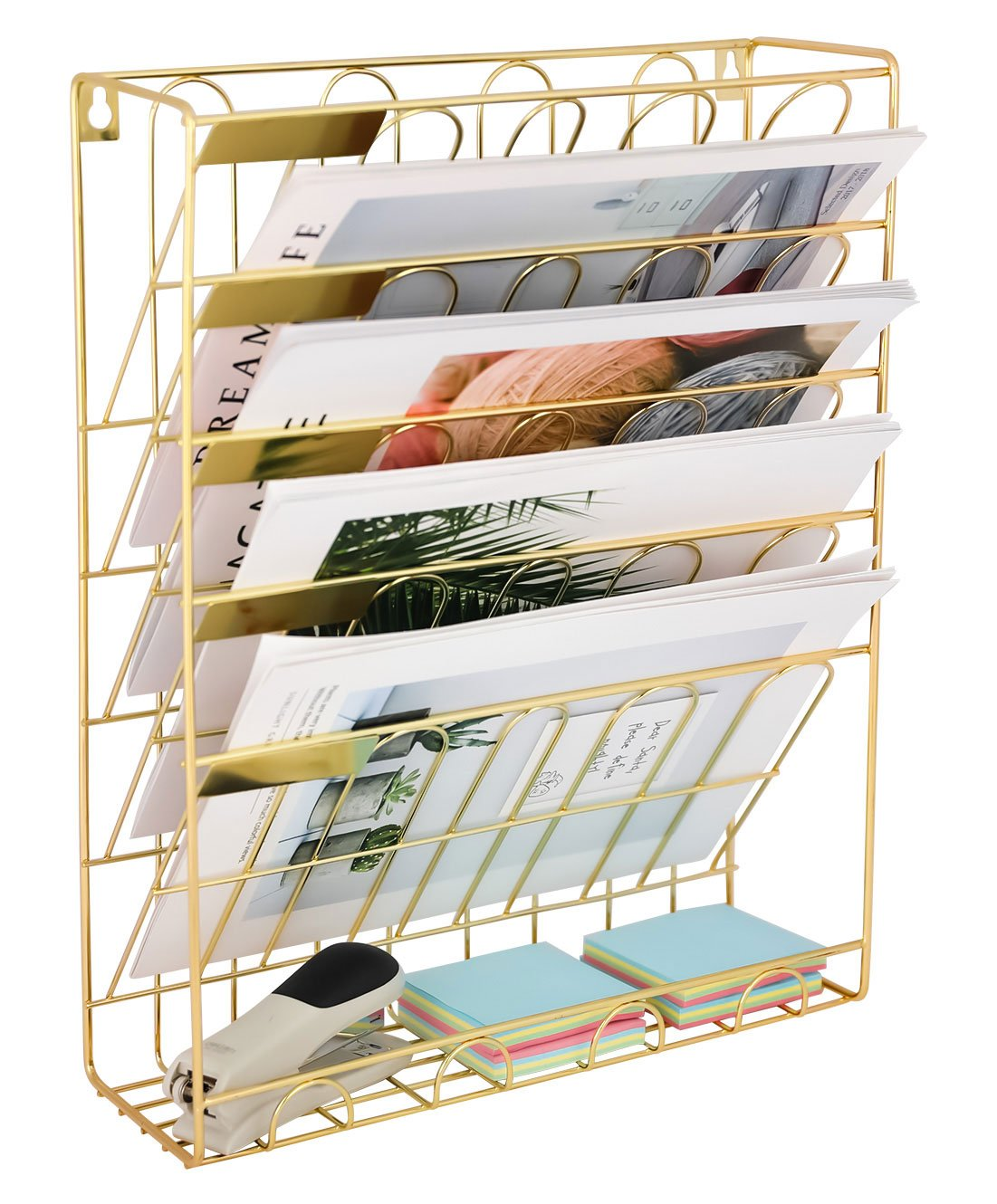 Superbpag Hanging Wall File Organizer, 5 Slot Wire Metal Wall Mounted Document Holder for Office Home, Gold York FJ5CBG