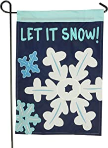 LAYOER Home Garden Flag 12 x 18 Inch Winter Snowflake Applique Embroidered Double Sided (Let it Snow!)